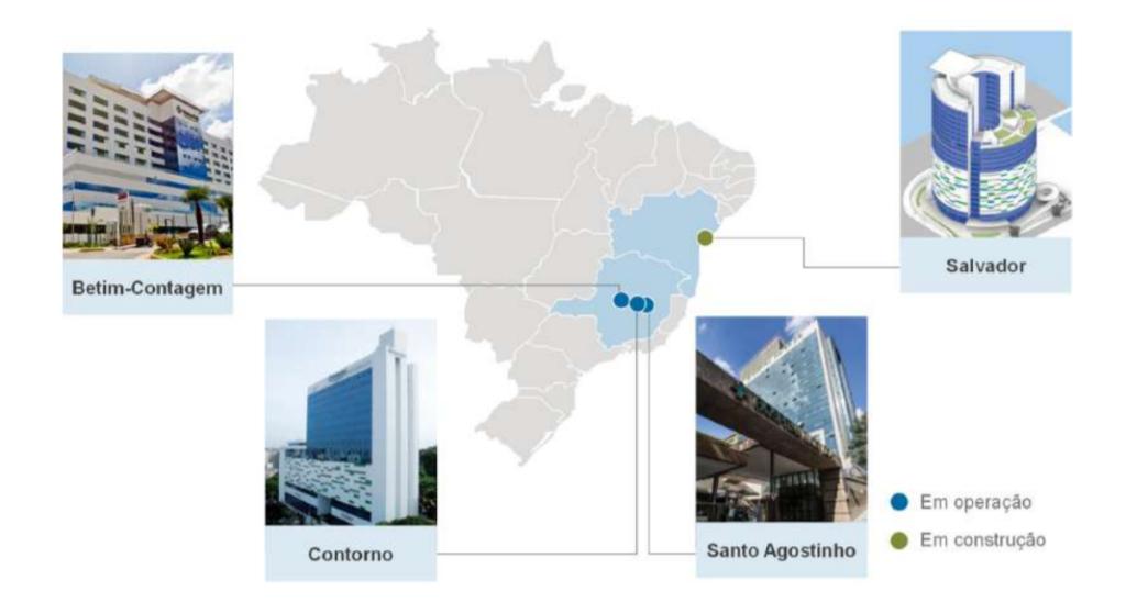 Localização dos hospitais (Fonte: Mater Dei)