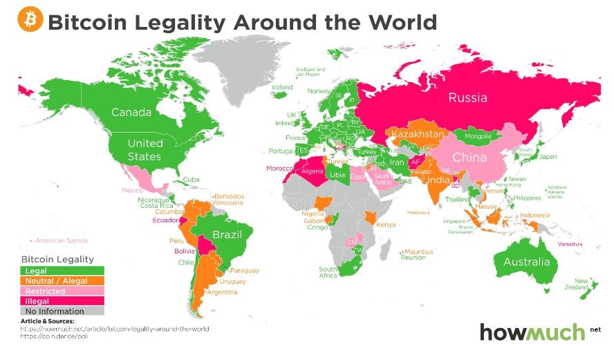 Legalidade do bitcoin no mundo