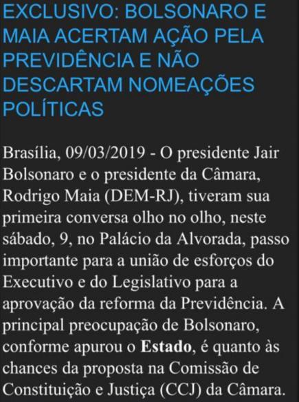 Acerto entre Bolsonaro e Maia