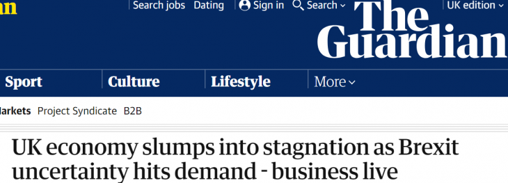 Economia do Reino Unido desacelera com Brexit