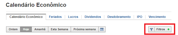 Filtro do Calendário Econômico no Investing.com